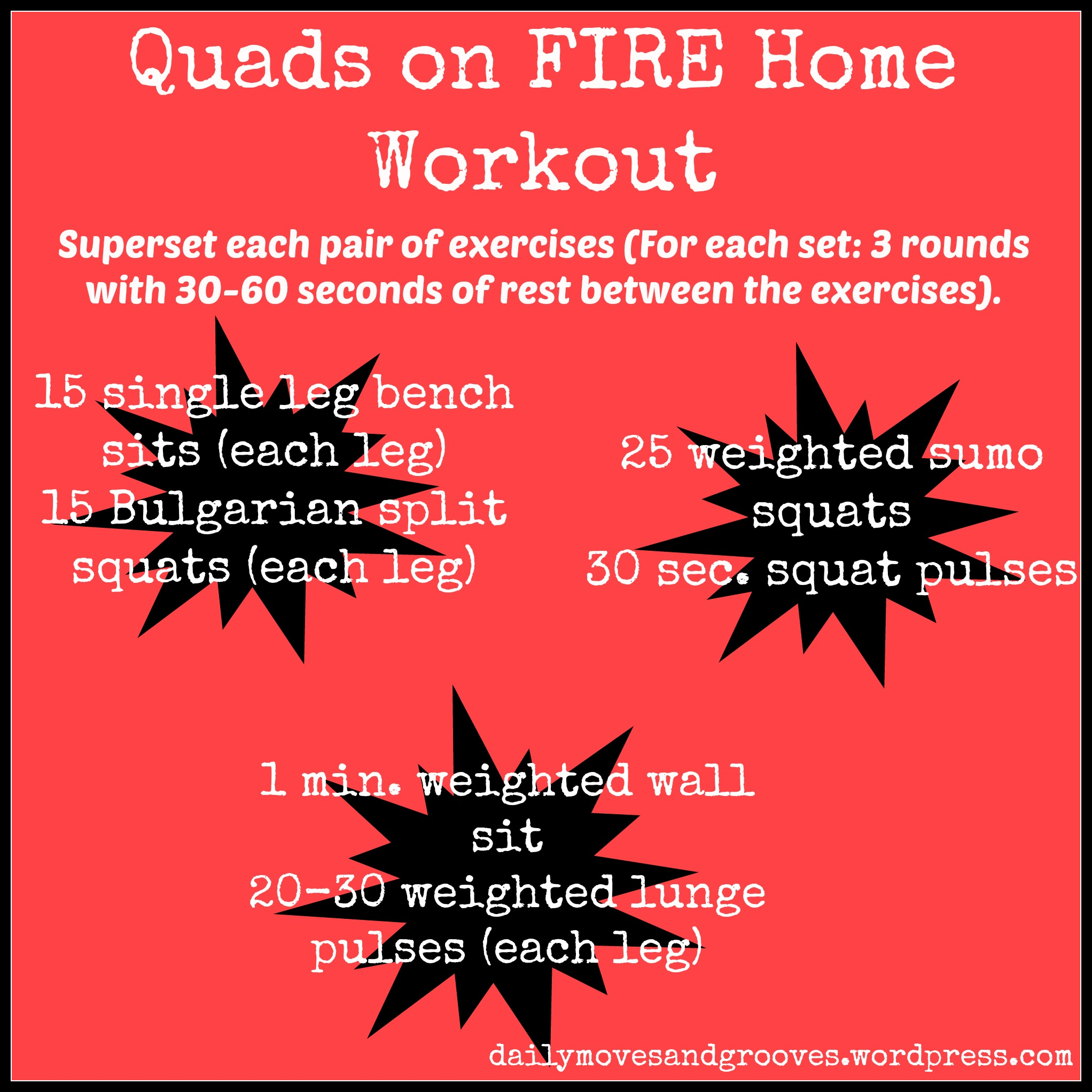 Quads on fire home workout video daily moves and grooves